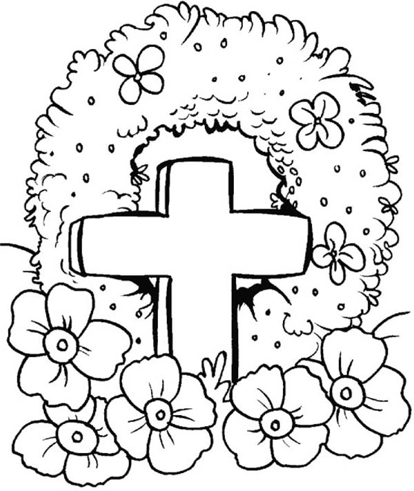 Remembrance Day, : Remembrance Day Flower Wreath Coloring Pages
