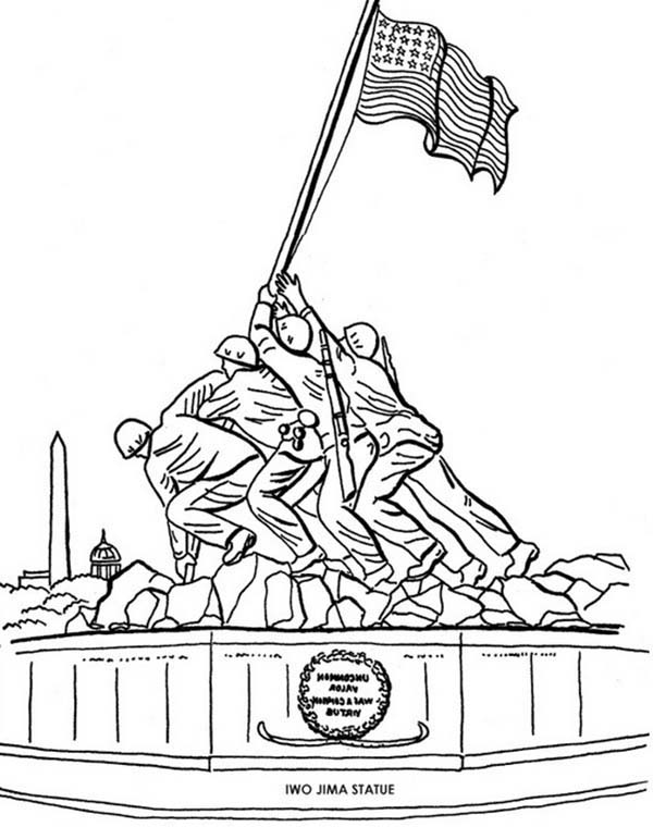 Remembrance Day, : Remembrance Day Iwo Jima Statue Coloring Pages