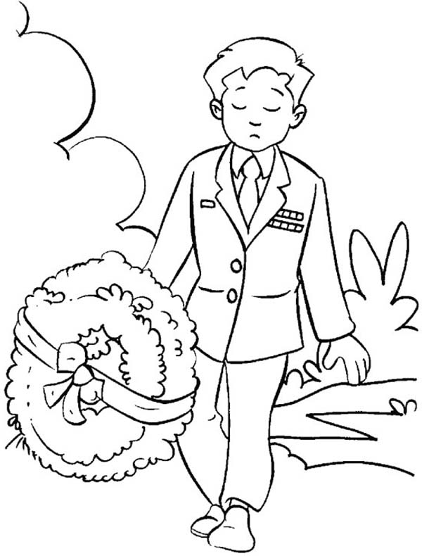 Remembrance Day, : Remembrance Day Soldier Bring Wreath Coloring Pages