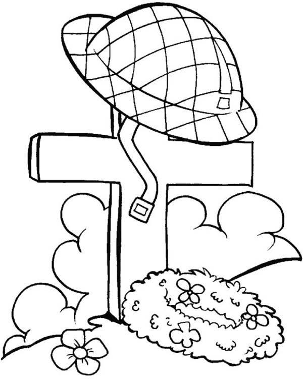 Remembrance Day, : Remembrance Day Soldier Helmet Coloring Pages