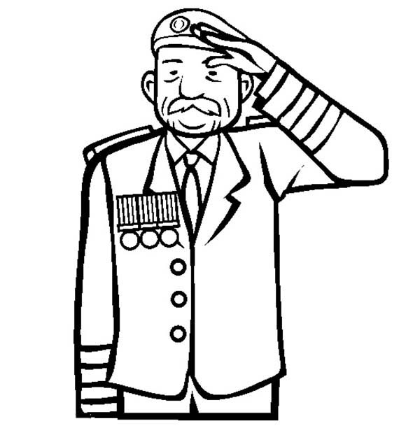 Remembrance Day, : Remembrance Day Veteran Salute Coloring Pages