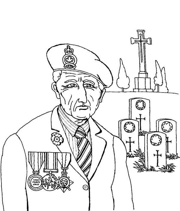 Remembrance Day, : Remembrance Day Veteran at Graveyard Coloring Pages