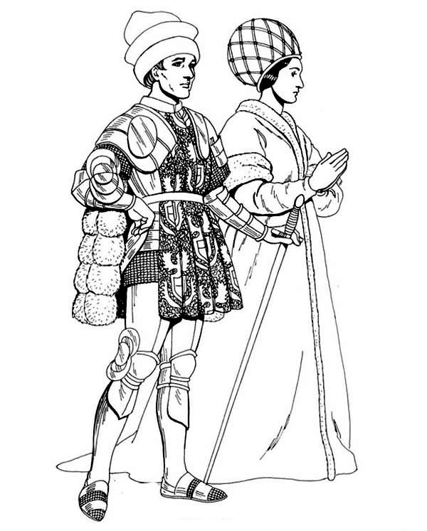 Renaissance, : Renaissance Going to Party Coloring Pages