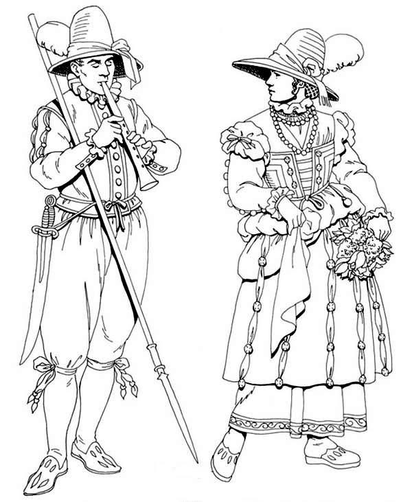 Renaissance, : Renaissance Musician Coloring Pages