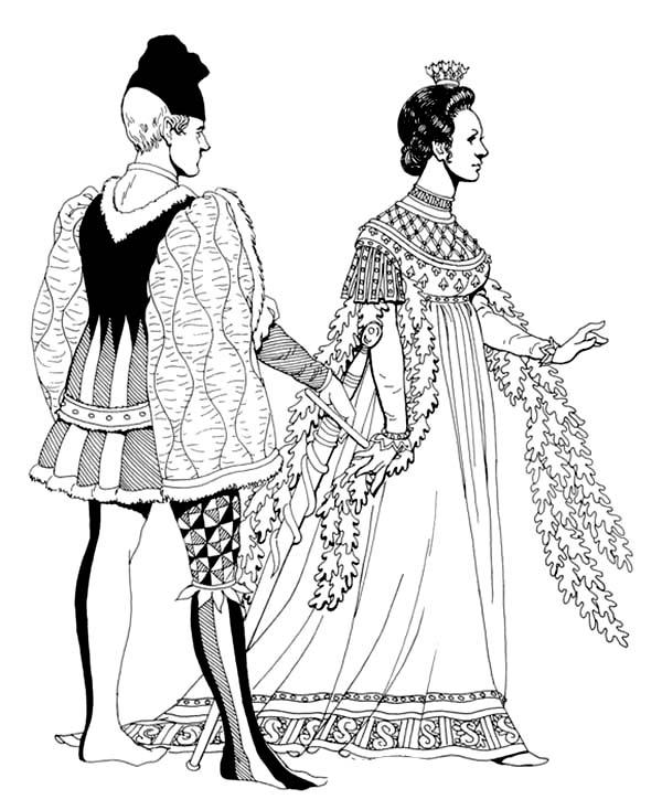 Renaissance, : Renaissance a Couple is Having Fight Coloring Pages