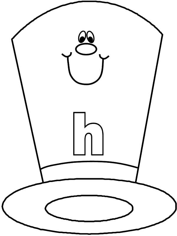 Hat, : Smiling Hat Coloring Pages