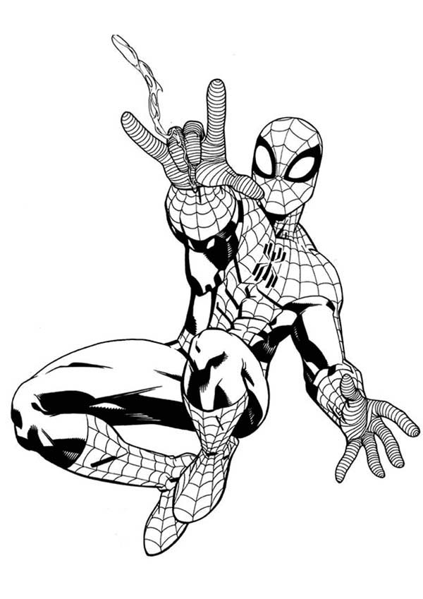 Spiderman, : Spiderman Awesome Web Shooter Coloring Page