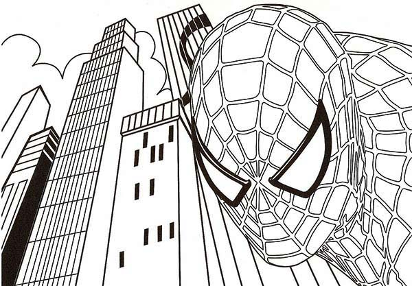Spiderman, : Spiderman Came Down from High Building Coloring Page