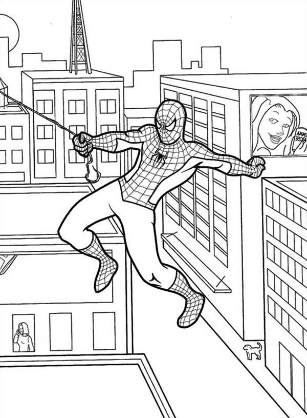 Spiderman, : Spiderman Swinging from One Building Coloring Page