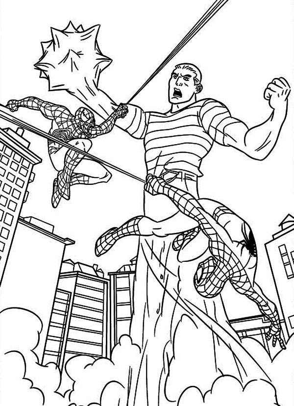 Spiderman, : Spiderman Versus Sandman Coloring Page
