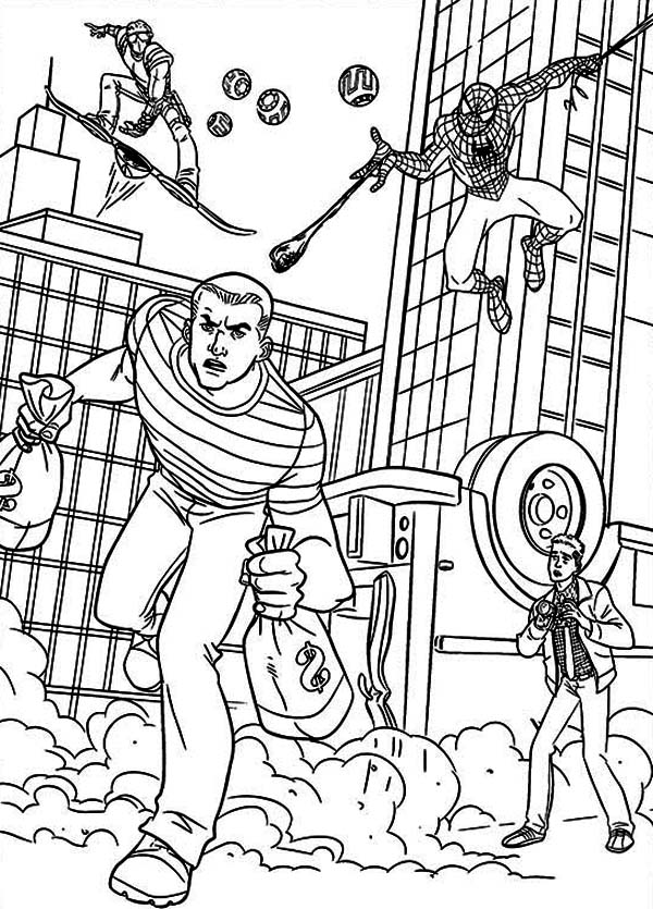 Spiderman, : Spiderman and Green Goblin Pursue Bank Robber Coloring Page