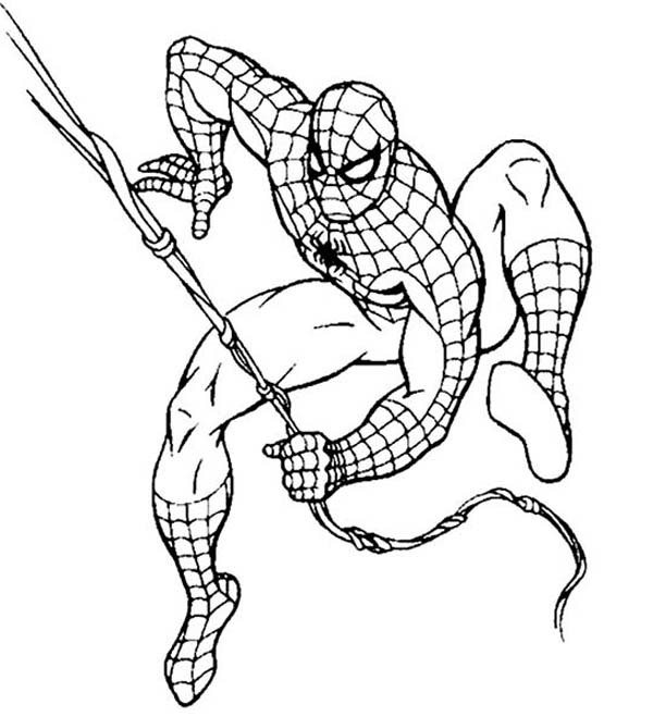 Spiderman in action coloring page