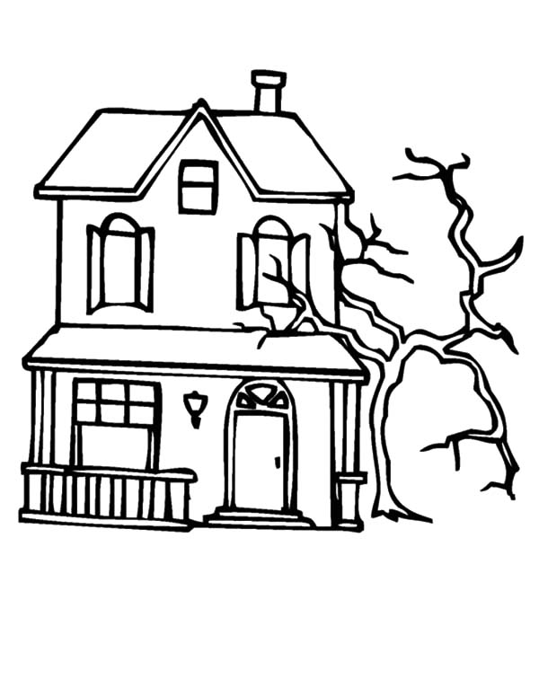 spooky dead tree beside haunted house coloring pages - Halloween House Coloring Pages