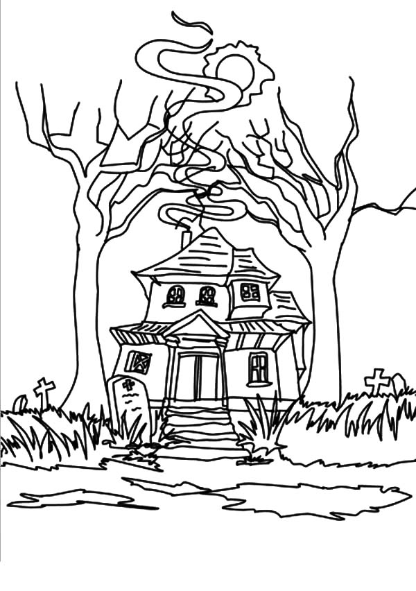 Haunted House, : Strange Haunted House Coloring Pages