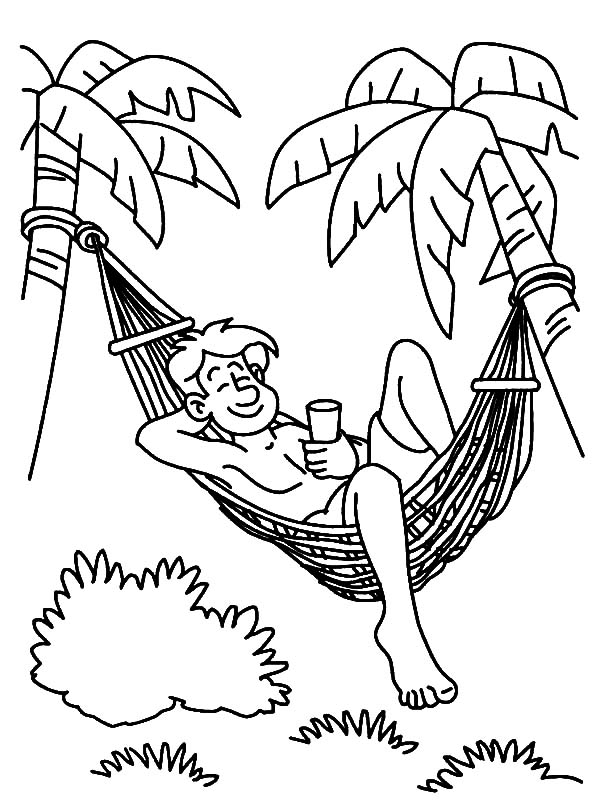 Hawaii, : Summer Day in Hawaii Coloring Pages
