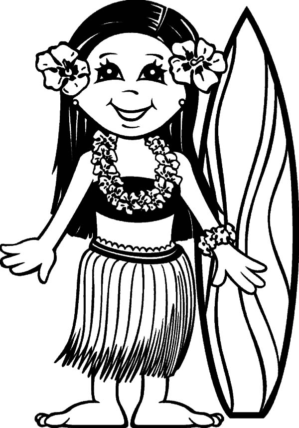 surfer girl hawaii coloring pages - Hawaii Coloring Pages