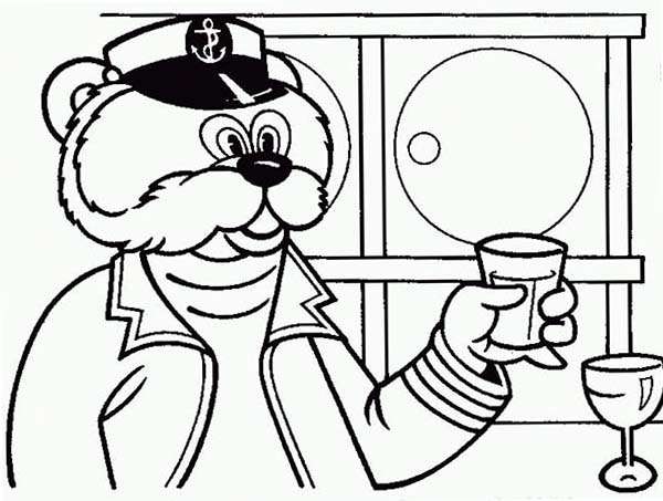 The Bearboat, : The Bearboat Having Drink Coloring Pages