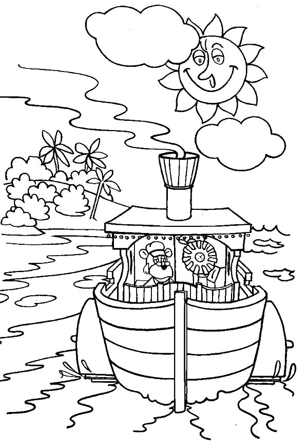 The Bearboat, : The Bearboat Sailing on Sunny Day Coloring Pages