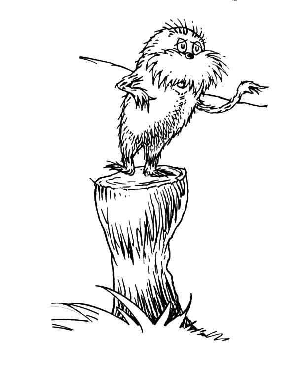 The Lorax, : The Lorax Protest to the Onceler Coloring Pages