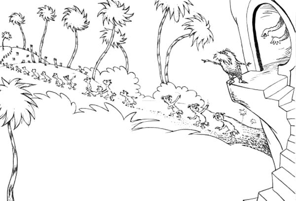The Lorax, : The Lorax Send the Animals to Find New Place to Live Coloring Pages