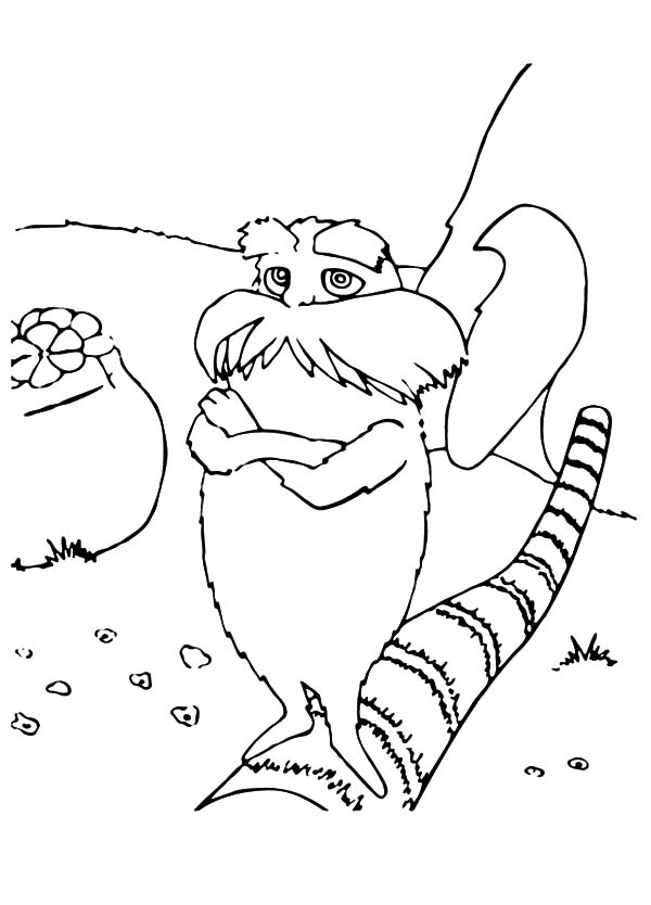 The Lorax, : The Lorax Standing on Cutted Down Tree Coloring Pages