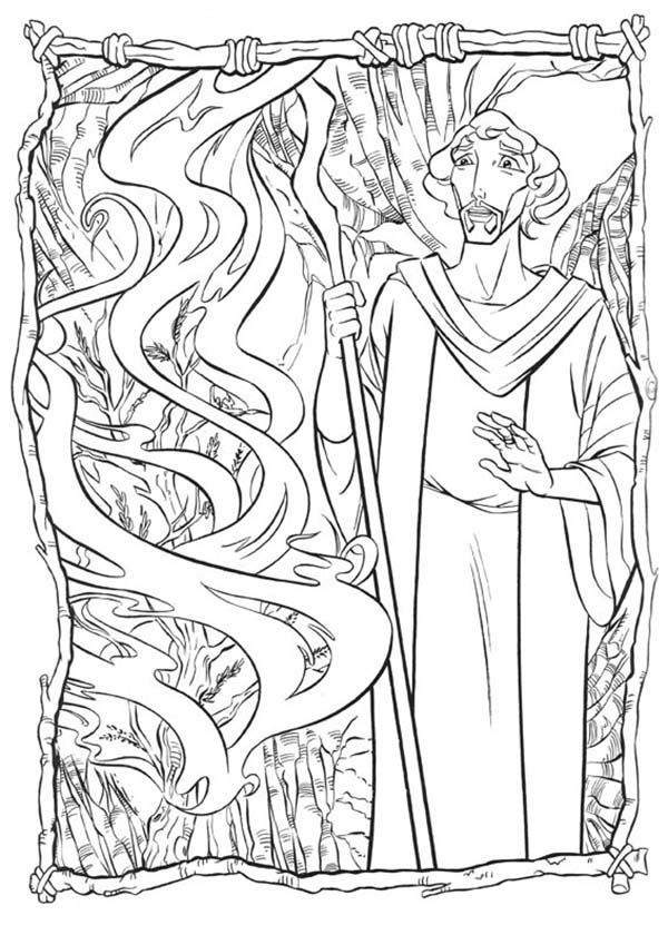 Prince Of Egypt, : The Prince of Egypt Communicate with God Through Burning Bush Coloring Pages