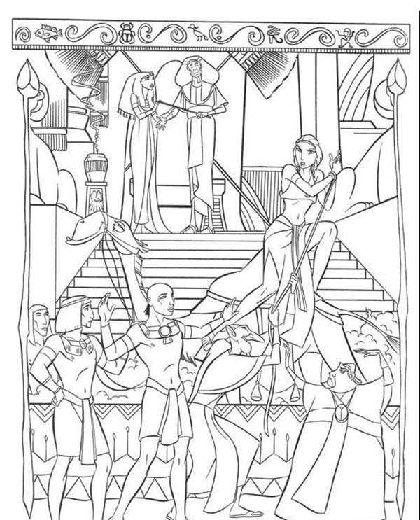 Prince Of Egypt, : The Prince of Egypt Pharaoh Captured Tzipporah Coloring Pages