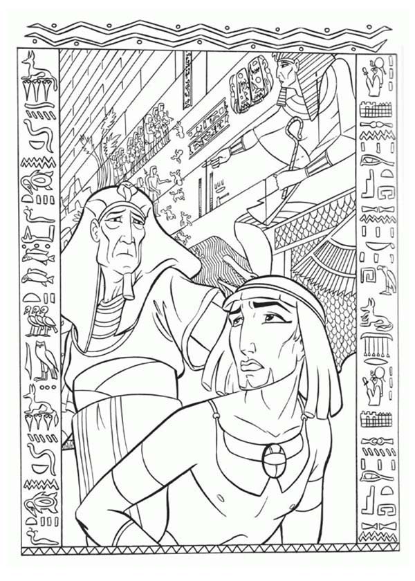 The Prince of Egypt Punished by Pharaoh Coloring Pages | Coloring Sun
