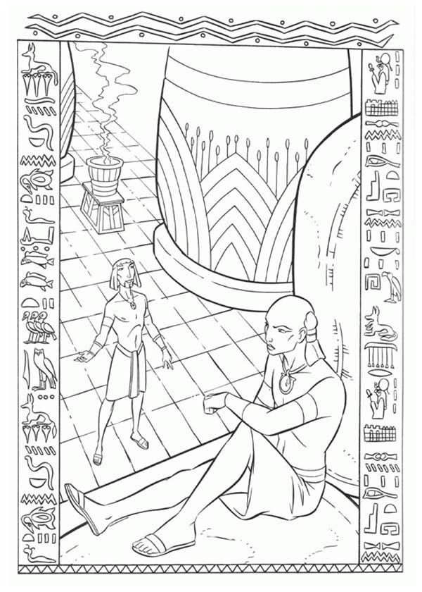 Prince Of Egypt, : The Prince of Egypt Talking to Ramses Coloring Pages