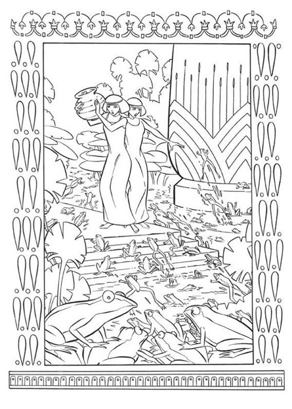 Prince Of Egypt, : The Prince of Egypt Whole Country Plague with Frogs Coloring Pages