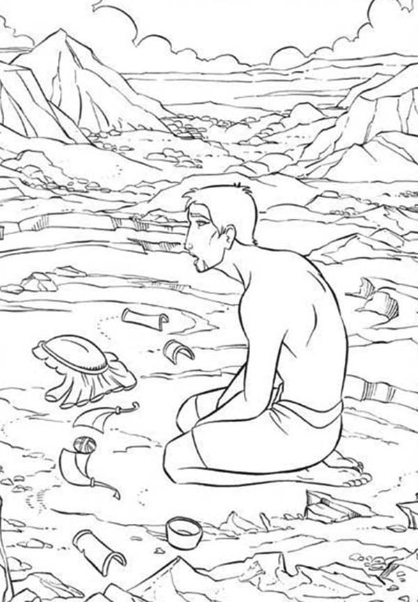Prince Of Egypt, : The Prince of Egypt in Despair Coloring Pages
