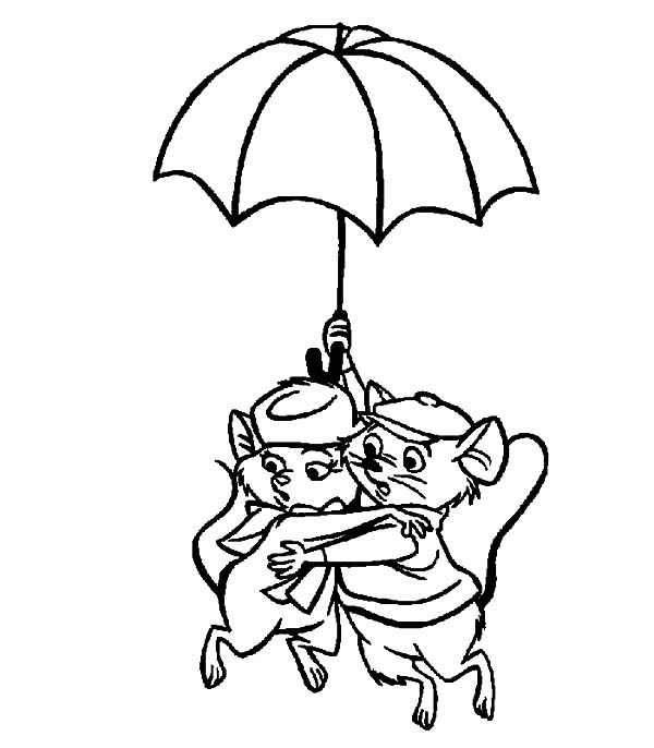 The Rescuers, : The Rescuers Miss Bianca and Bernard Floating Using Umbrella Coloring Pages