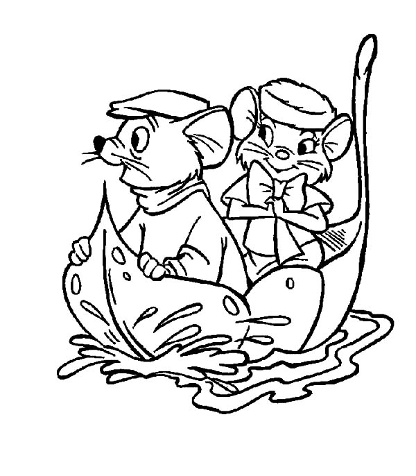 The Rescuers, : The Rescuers Miss Bianca and Bernard Sail with a Leaf Coloring Pages