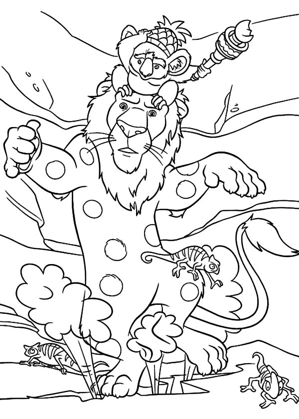 The Wild, : The Wild Colak and Camo Protecting Samson and Nigel Coloring Pages