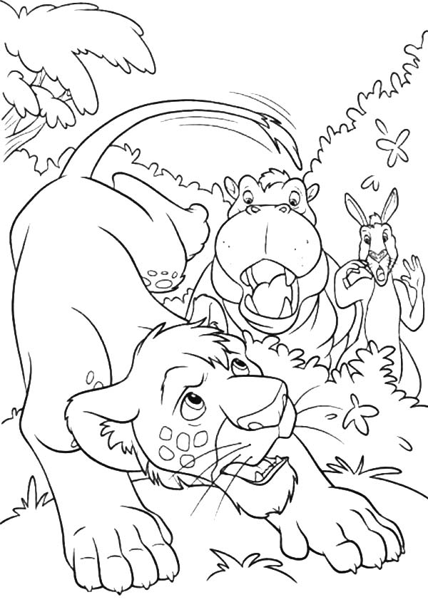 The Wild, : The Wild Eze the Hippopotamus and Duke the Kangaroo Worry about Ryan Coloring Pages