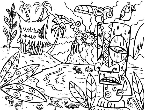 This is Hawaii Coloring Pages Coloring Sun