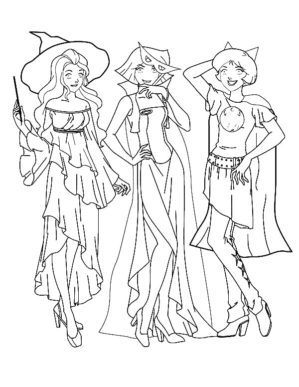 Totall Spies, : Totall Spies Wear Witch Costume Coloring Pages