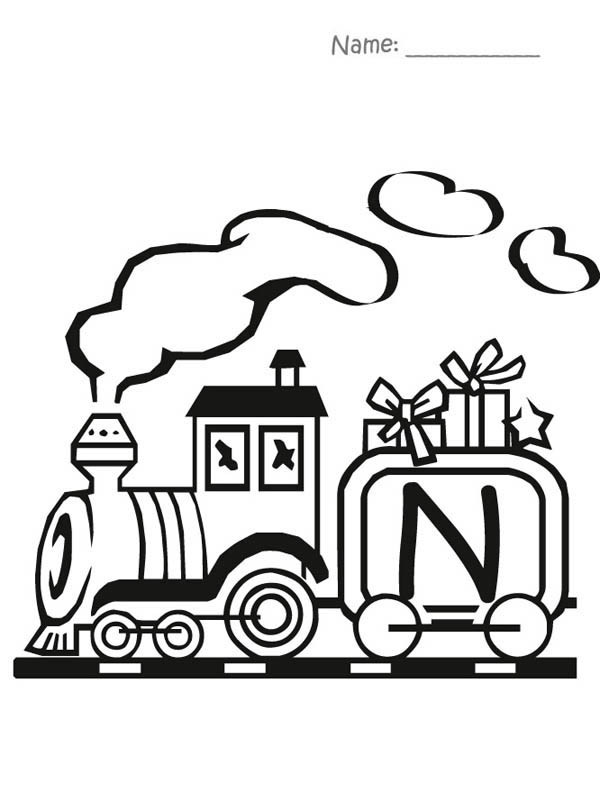 Letter n, : Train Carry Letter N Coloring Page