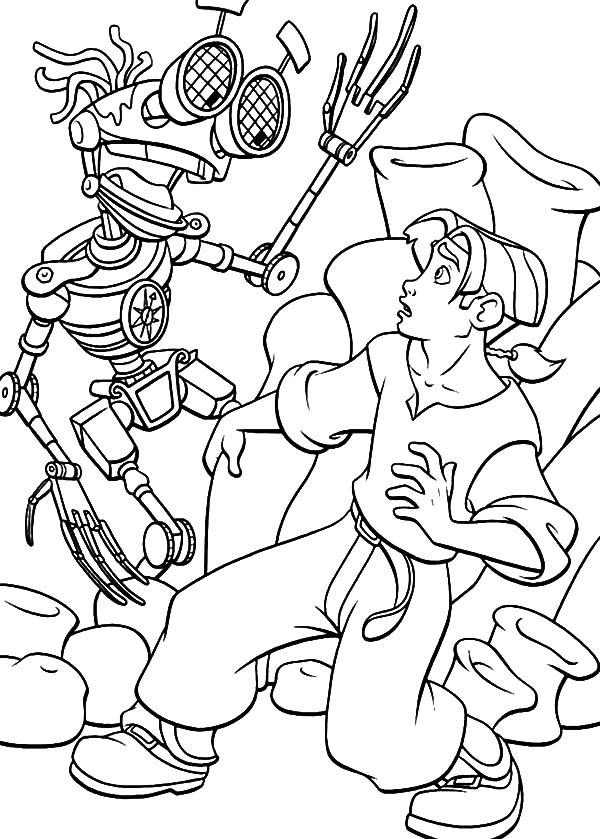 Treasure Planet, : Treasure Planet B.E.N Surprised Jim Hawkins Coloring Pages