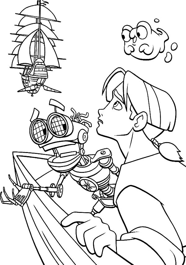 Treasure Planet, : Treasure Planet Chased by Enemy's Ship Coloring Pages