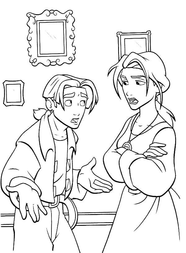 Treasure Planet, : Treasure Planet Jim Explain Something to His Mother Sarah Coloring Pages