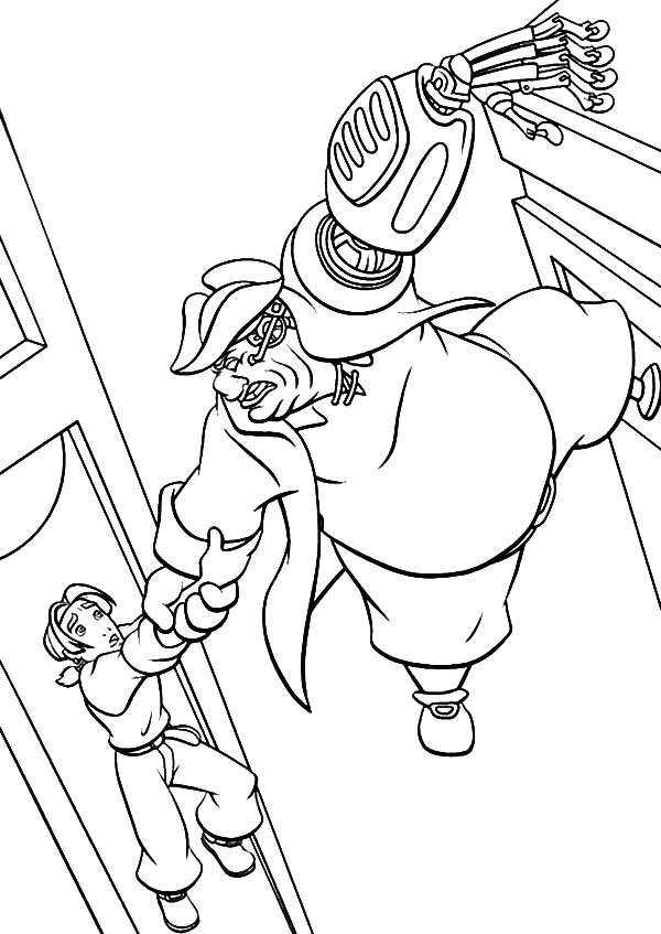 Treasure Planet, : Treasure Planet Jim Hawkins Hold John Silver Tight Coloring Pages