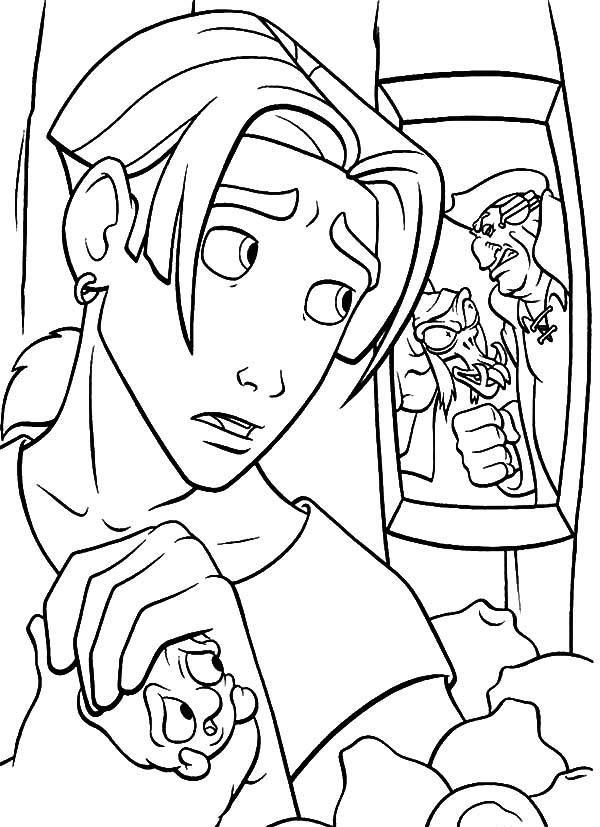 Treasure Planet, : Treasure Planet Jim Hawkins Listening to John Silver and Scroop Evil Plan Coloring Pages