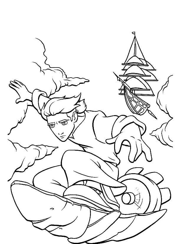 Treasure Planet, : Treasure Planet Jim Hawkins Solar Surfing Coloring Pages
