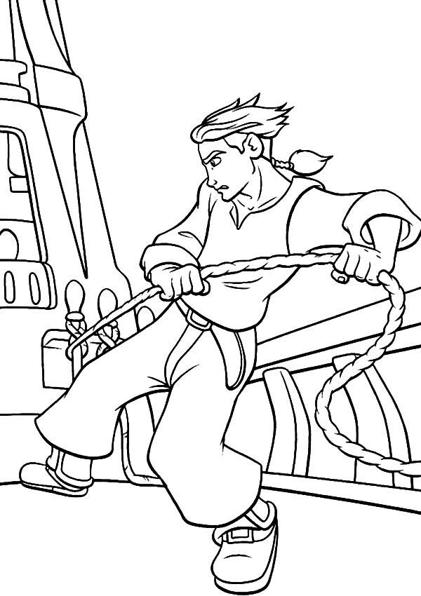 Treasure Planet, : Treasure Planet Jim Hawkins Tie His Ship Coloring Pages