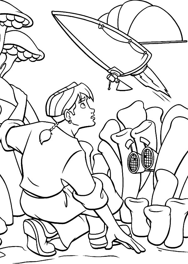 Treasure Planet, : Treasure Planet Jim Hiding from Enemy Coloring Pages