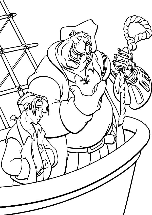 Treasure Planet, : Treasure Planet John SIlver Teach Jim Hawkins How to Make Knot Coloring Pages