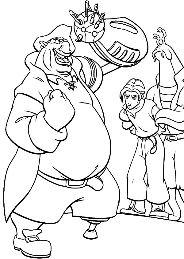 Treasure Planet, : Treasure Planet John Silver Captured Jim Hawkins Coloring Pages