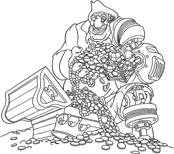 Treasure Planet, : Treasure Planet John Silver Found Pirate Treasure Chest Coloring Pages