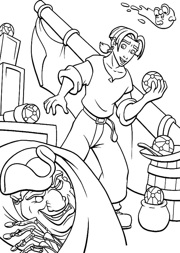 Treasure Planet, : Treasure Planet John Silver Hide from Jim Hawkins Coloring Pages